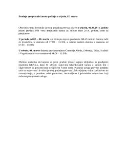 Prodaja pretplatnih karata pocinje u srijedu, 02. marta