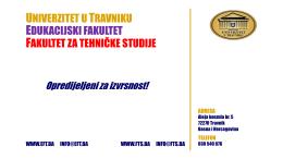 Prezentacija fakulteta - Univerzitet u Travniku