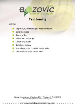 Test trening - Bozovic Tennis Academy