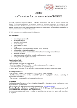 Call for staff member for the secretariat of DPNSEE