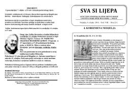 župni listić br. 231. (6.3.2016.) - Župa Uznesenja Blažene Djevice