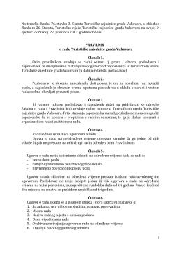 Pravilnik o radu TZ grada Vukovara