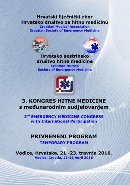 Privremeni program 3. Kongres hitne medicine