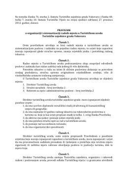 Pravilnik o sistematizaciji radnih mjesta u TZ