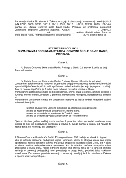 statutarnu odluku o izmjenama i dopunama statuta osnovne škole