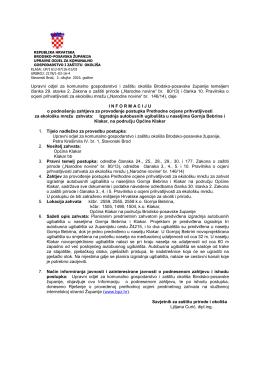Informacija –zahtjev za prethodnu ocjenu - Brodsko