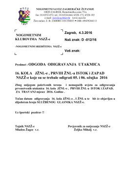 odgoda odigravanja utakmica - Nogometni savez Zagrebačke