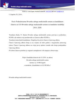Poziv - Hrvatska udruga medicinskih sestara