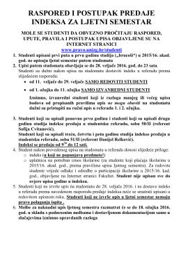 raspored i postupak predaje indeksa za ljetni semestar