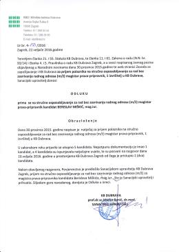 Odluka - Klinička bolnica Dubrava