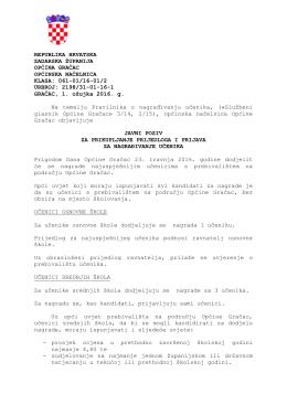 Javni poziv za prikupljanje prijedloga i prijava za