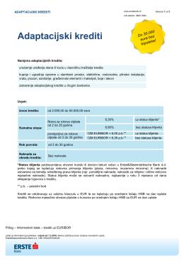Adaptacijski krediti - Erste & Steiermärkische banka