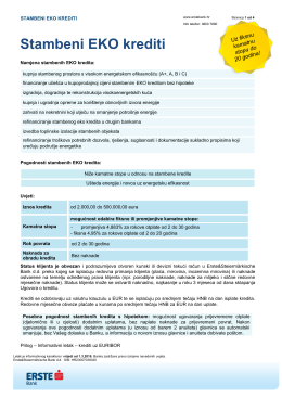 Stambeni EKO krediti - Erste & Steiermärkische banka