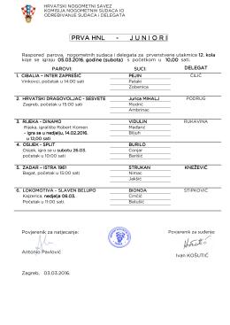 Delegiranje 12. kolo - Hrvatski nogometni savez