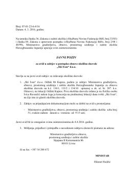 javni poziv - Vlada Hercegbosanske županije