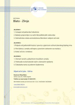 Blato-Zlinje - Tjedan restorana