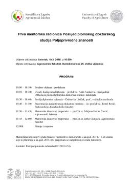 Program radionice - Agronomski fakultet