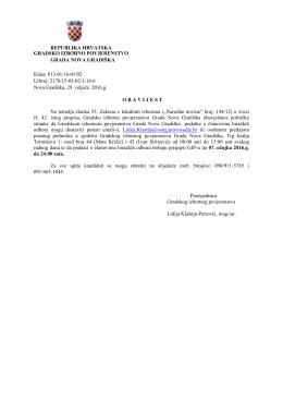Obavijest za dostavu članova biračkih odbora