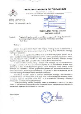 Preporuka Hrvatskog zavoda za zapošljavanje