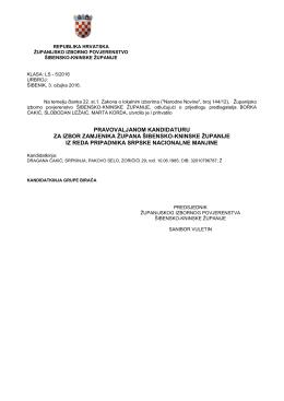 pravovaljanom kandidaturu za izbor zamjenika župana šibensko