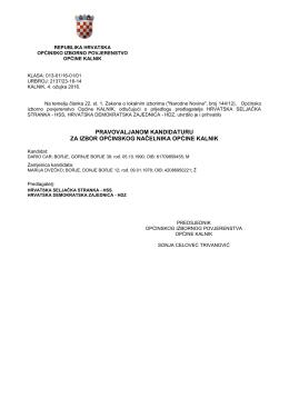 Pravovaljane kandidature i zbirne liste za izbor općinskog načelnika