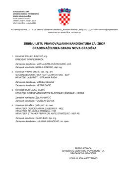 zbirnu listu pravovaljanih kandidatura za izbor