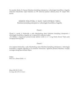 Izmjene Poslovnika o radu Fakultetskog vijeća Fakulteta kemijskog