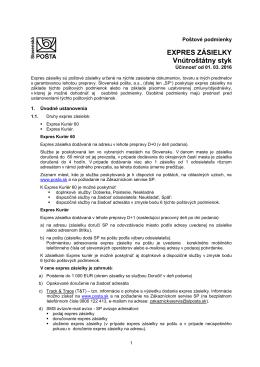 Poštové podmienky - Slovenská pošta