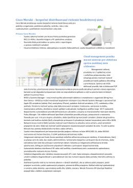Cisco Meraki WiFi datovy list