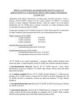 Výročná správa o činnosti AS FZaSP TU 2015