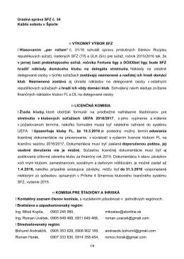 Úradná správa SFZ č. 34 zo dňa 5.3.2016 na stiahnutie