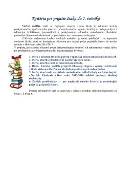 Kritéria pre prijatie žiaka do 1. ročníka