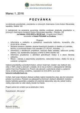 Marec 1, 2016 POZV Á NKA
