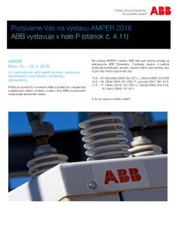 Pozývame Vás na výstavu AMPER 2016 ABB vystavuje v hale P