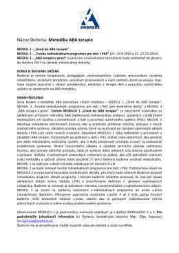Metodika ABA terapie - Autistické centrum Andreas no