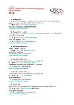 Január - február 2016 - Regionálne osvetové stredisko v Leviciach