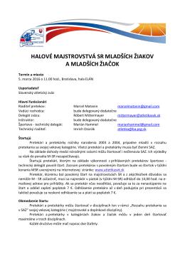Propozície - Slovenský atletický zväz