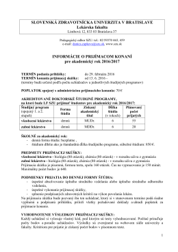 Informácie o štúdiu - Slovenská zdravotnícka univerzita