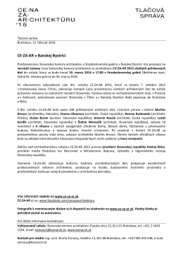 Tlačová správa - Slovenská komora architektov