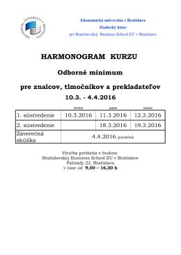 harmonogram kurzu - Ekonomická univerzita v Bratislave