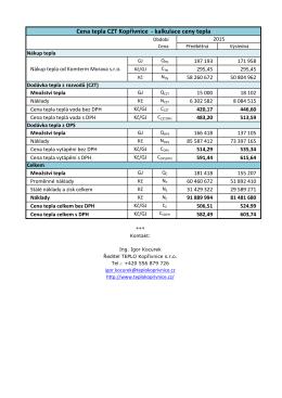 Cena tepla CZT Kopřivnice - kalkulace ceny tepla