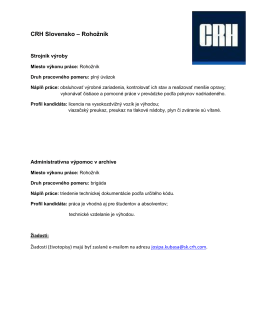 Pracovná ponuka od spoločnosti CRH Slovensko