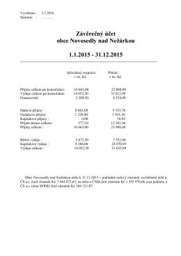 Závěrečný účet obce za rok 2015