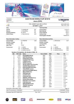 SL 06. 03. 2016 Štartová listina Slalom