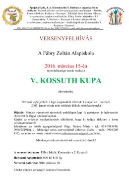 v. kossuth kupa - Fábry Zoltán Alapiskola