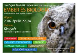 EMBER ÉS BIOLÓGIA - BTDK