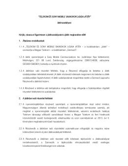 Játékszabályzat - Magyar Telekom