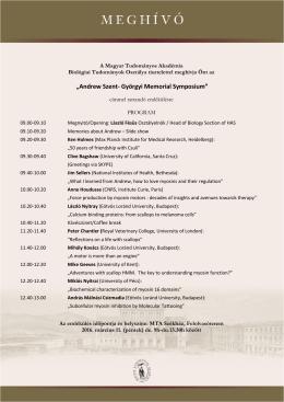 Andrew Szent- Györgyi Memorial Symposium
