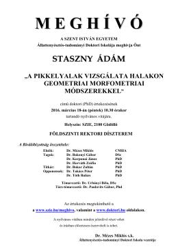 Meghívó - Szent István Egyetem