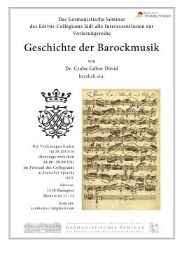 Barockmusik - Plakat - ELTE Eötvös József Collegium